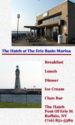 The Hatch at Erie Basin Marina | The Hatch Foot Of Erie St Buffalo  NY | (716) 851-5389 | Breakfast Menu |  Lunch/Dinner Menu | Ice Cream and Clam Bar